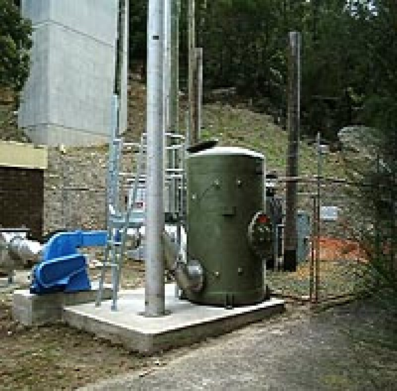 Activated Carbon system removing H2S and odours from a sewage vent